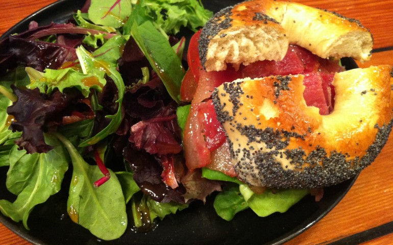 GC ordered the BLT on a poppy seed bagel. Canadian smoked bacon, Boston lettuce, tomato and onion marmalade.